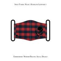 *期間限定受注生産品 スプリット マスク ( バッファローチェック )  / モダンパイレーツ スカル 刺繍 デザイン (左側刺繍)