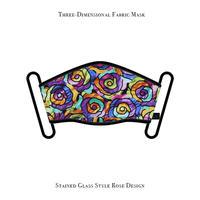 立体式 マスク / ステンドグラス スタイル ローズ