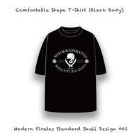 【 カァンファタブル シェープ ティーシャツ / モダンパイレーツ スタンダード スカル デザイン 001 (5.6オンス・ブラックボディー) 】