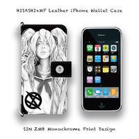 【 iPhone ウォレットケース /  SIN ZMB モノクローム プリント デザイン  (HISASHIx MODERNPIRATES) 】