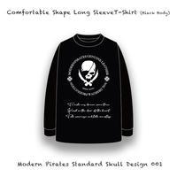【 カァンファタブル シェープ  ロングスリーブ ティーシャツ  / モダンパイレーツ スタンダード スカル デザイン 001 (5.6オンス・ブラックボディー) 】