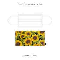 Fabric Two Folded Mask Case /  Sunflower Design