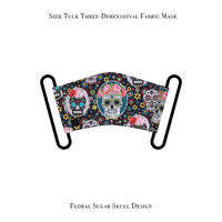 サイドタック 立体式 マスク / フローラル シュガー スカル デザイン
