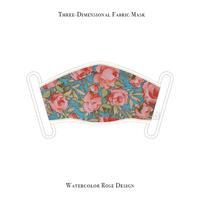 立体式 マスク / 水彩風ローズ デザイン