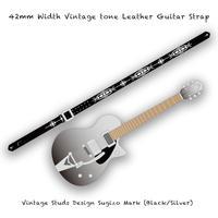 【 ギターストラップ / ヴィンテージ スタッズ デザイン SUGIZO Model 004 ( 42mm幅 ヴィンテージ トーンレザー ) 】