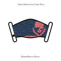 * Limited Items * Three-Dimensional Mask / Paisley Skull Design (Denim / Red )