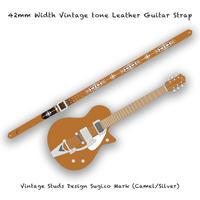 【 ギターストラップ / ヴィンテージ スタッズ デザイン SUGIZO Model 002 ( 42mm幅 ヴィンテージ トーンレザー ) 】
