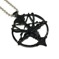 【黒】悪魔崇拝・逆五芒星のネックレス