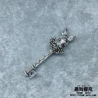 【5点セット】鍵風ペンダント素材 51.1mm x 15.8mm 金属製パーツ ウサギ彫刻グリップ シルバーカラー 商品番号K-0051
