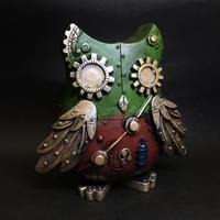 機械梟の貯金箱 緑・赤