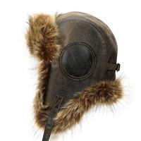 【コーヒー色】飛行帽風レザー製帽子