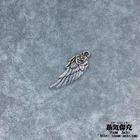 【5点セット】バラ柄付き翼風素材 31.5mm x 11.6mm 金属製ハンドメイド素材 商品番号W-0066