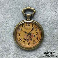 懐中時計風素材 金属製パーツ リアル風ダイアル 花柄 レジン表面 商品番号T-0024