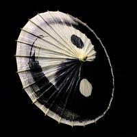 『陰陽太極傘』28本竹製骨 桐油防水加工 直径84cm 長さ58cm