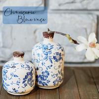 花瓶 フラワーベース 2個セット 陶器 おしゃれ シノワズリー レトロ 雑貨 花器 シノワオリエンタルベース CTQ-59 CTQ-60