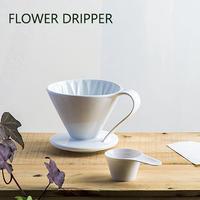 三洋産業 CAFEC フラワードリッパー cup1 1杯用 有田焼 メジャースプーン付き ホワイト