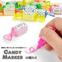 キャンディーマーカー CANDY MARKER カラフルな蛍光ペン 15個セット ポップ 文具 蛍光マーカー かわいい プレゼント