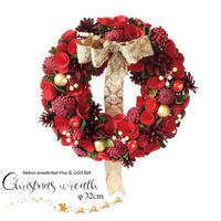 彩か(Saika)Ribbon Wreath -RedPine & Gold Ball M クリスマスリース リボン CXO-R29M 32cm