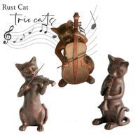 彩か Saika Rust Cat Trio アンティーク風 オブジェ 置物 猫 三重奏 ねこ ブロンズ風 木彫り風 シャビーシック