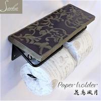 彩か SAIKA 花鳥風月 Paper holder トイレットペーパーホルダー おしゃれ 2連 ダブル アイアン 陶器 sik7385