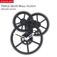 Kikkerland キッカーランド Triple Gear Wall Clock トリプルギアウォールクロック ブラック ウォールクロック 壁掛け時計 ギア 歯車 インテリア