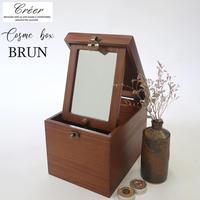 Creer クレエ メイクボックス BRUN ブラン 鏡付き化粧品箱 アッシュ材 収納 コスメボックス 90900044