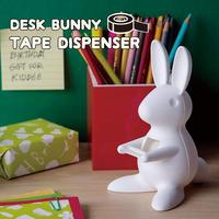 QUALY(クオリー) DESK BUNNY TAPE DISPENSER デスクバニー テープディスペンサー ホワイト セロハンテープ マスキングテープ テープカッター テープ台 うさぎ