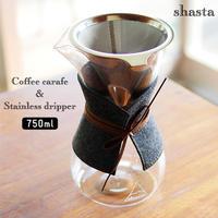 shasta シャスタ コーヒーカラフェ & ステンレスドリッパー 耐熱ガラス ドリッパー セット ギフト おうちカフェ