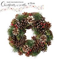 彩か(Saika)Wreath -Green Needle & Pinecone M クリスマスリース リボン CXO-579M 32cm ナチュラル 玄関インテリア