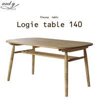 nora.ノラ logie (ロジー) ダイニングテーブル 幅140cm 北欧 ナチュラル 4人掛け 収納 リビング学習 and g アンジー 関家具