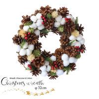 彩か(Saika)Wreath -Pinecone & Cotton M クリスマスリース リボン CXO-561M 32cm