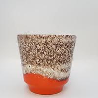 1970's scheurich社製オレンジ色の fat lava 鉢カバー/WK176