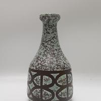 1950's~60's VEB Haldensleben? ミントグリーン×チョコレートカラー 幾何学モチーフフラワーベースB/DK73