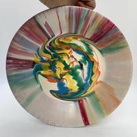 マーブル模様 壁掛け飾り皿φ22cm ・White /DK187