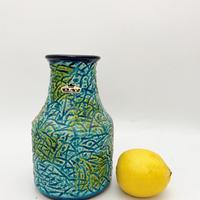 1960's BAY keramik社製 リーフモチーフ ターコイズベース×グリーン市松パターン /WK300