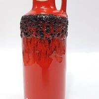1960's~70's Kreutz keramik レッド/ブラック ファットラヴァベース/WK116