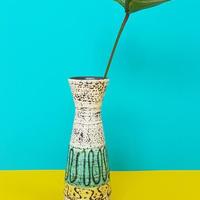 1950's Bay keramik イエロー×ターコイズブルーベース/WK068**ふちに小傷アリ