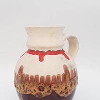 1960's Bay keramik製 fat lava スモールピッチャー ホワイト×レッド/WK150 *lava釉につぶれ有
