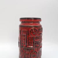 1970's BAY keramik社製 レッドレリーフモチーフ ベース/WK161