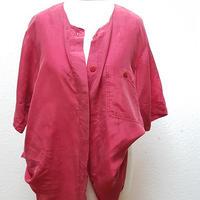 1980's~ レディス半袖シルクシャツFUCHSIA PINK/size 38**送料込み**