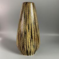 1950's 珍しい釉薬の手描きのイエロー×ブラウンの花瓶/WK330**口内側にヒビあり