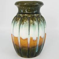 1960's Scheurich社製 グリーン×マスタードイエロー花瓶  WK020