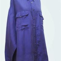 1980's~ メンズシルクシャツEGG PLANTナス紺/size XXL**送料込み**