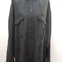 1980's~ メンズシルクシャツBLACK/size XXL**送料込み**