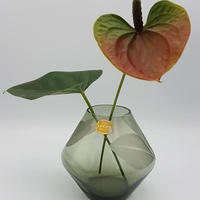 1950's DDR Lauschaglas 葉っぱモチーフ グラスベース Greenトルマリンカラー /GR018
