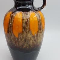1960's~1970's  西ドイツJasba社製 fat lava花瓶 オレンジ   WK006