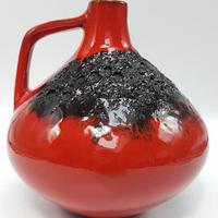 1960's~70's Kreutz keramik レッド/ブラック ファットラヴァベース 大/WK117