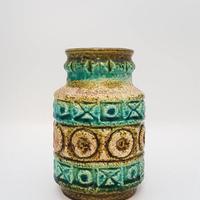 1960's BAY keramik社製 ターコイズブルー×オリーブグリーン レリーフモチーフベース/WK173