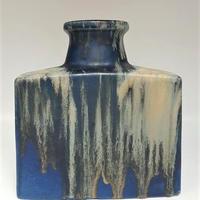 1960's scheurich製 ブルー×ホワイト fat lavaスクエアベース/WK062**底面に欠けあり