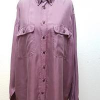 1980's~ メンズシルクシャツLAVENDER パープル/size M